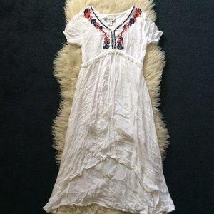 Vintage 70s boho hippie white rayon high low dress